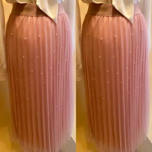 Pretty In Pink and Peals Chiffon Maxi Skirt